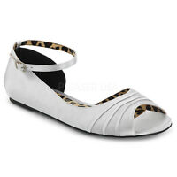 PLEASER Silver Satin Flats Women's Shoes with Ankle Strap Large SIZES ANNA03/SSA