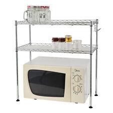 2-Tier Kitchen Microwave Oven Rack Steel Wire Spice Storage Shelf Organizer