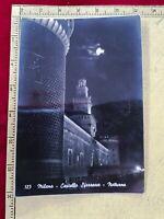 93) MILANO CASTELLO SFORZESCO NOTTURNA N. 123 CARTOLINA POSTCARD VIAGGIATA