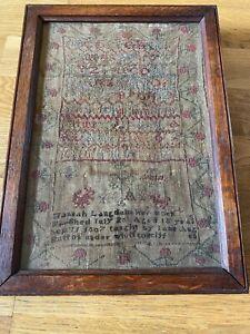 HANNAH LANGDALE 1807 ANTIQUE EMBROIDERY SAMPLER TAPESTRY FRAMED ALPHABET WORK