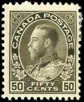 Canada #120 mint F-VF OG HR 1925 King George V 50c black brown Admiral Dry Print