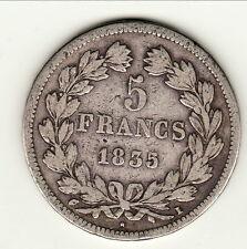 5 FRANCS LOUIS PHILIPPE TETE LAUREE 1835 I = LIMOGES   a saisir !  PETIT TIRAGE