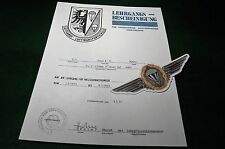 German Jump School (Fallschirmspringer) Replacement Certificate with Wing Decal