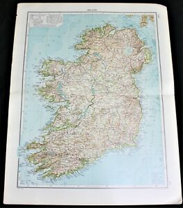 GERMAN ATLAS MAP PAGE PLATE OF IRELAND NORWAY SWEDEN DENMARK PRE WWI EARLY 1900