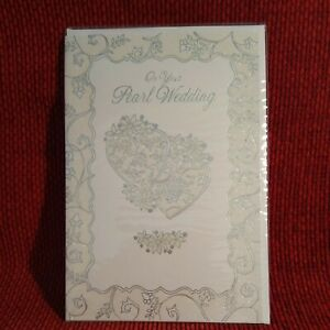 Happy Pearl Wedding 30th Anniversary Card Flowers and Hearts Glitter Simon Elvin