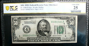 $50 1928  Federal Reserve Note CLEVELAND  FR #2100-D PCGS 25 VERY FINE NUMERICAL