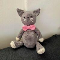 Crochet Stuffed Animal Stuffed Cat Toy Crochet Grey Cat Amigurumi Cat (SGZ052)