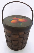 Fomerz Woven Basket Purse with Hinged Hand Painted Lid Hand Made in Spain