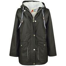 Kids Girls Boys PU Raincoat Jacket Black Hooded Waterproof Rainmac Cagoule 5-13Y
