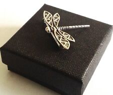Sterling Silver Art Deco style Dragonfly Bug Brooch Suit Lapel Pin Gentleman