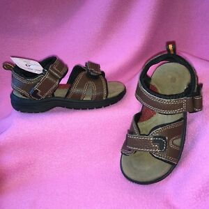 Boys BROWN LEATHER SPORT COMFORT SANDAL by CHEROKEE Size 10M   NEW~FREE SHIP