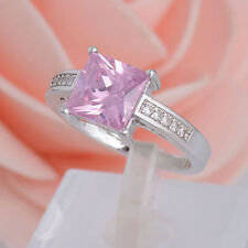 FT- 1Pc 925 Sterling Silver Pink Square Cubic Zirconia CZ Shiny Romantic Finger