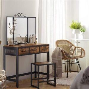 Farmhouse Vanity Table Set Writing Desk Jewelry Station Folding Mirror