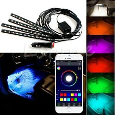 Wireless Music APP Control Car Interior RGB LED Neon Strip Light 12LED 4X