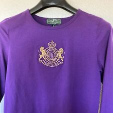 Ralph Lauren Women's Long Sleeve Purple Embroidered Large Gold Crest RL Logo PL