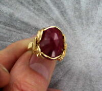 Natural Red Ruby Gemstone Ring  14kt Rolled Gold in Sizes 5 to 15 Wire Wrapped