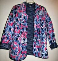 Alfred Dunner Reversible Quilted Jacket Pink Blue  White Navy Size 16W