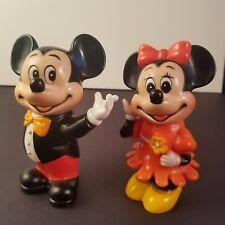 Vintage Mickey & Minnie Mouse Plastic Bank Set Walt Disney 2 Point Articulation
