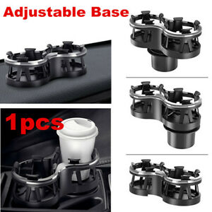 Black ABS Car Center Console Dual Cup Holder Drinking Bottle Holder Adjustable