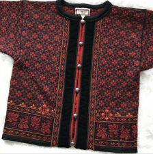 DALE OF NORWAY RED BLK FAIR ISLE CARDIGAN SWEATER