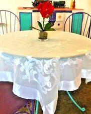 """Formal Sheer White Tablecloth 50x 53"""" Appliqué Wedding Satin Border"""