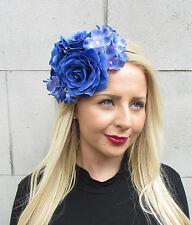 Blue Hydrangea Rose Flower Fascinator Races Headband Headpiece Rockabilly 2315