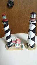 Black and white geometric design lighthouses, set of two