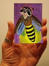 flying Raccoon fire Fly lightning Bug aceo EBSQ Loberg fantasy insect Mini Art