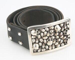 Stanley Guess Sterling Silver Skull Motif Belt Buckle & Leather Belt *PROTOTYPE*