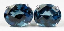 • SE102, 10x8mm London Blue Topaz, 925 Sterling Silver Post Earrings -Handmade