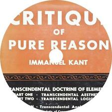The Critique of Pure Reason, Immanuel Kant Audiobook on 2 MP3 CDs Free Shipping