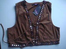 § Gilet femme Just Addict marron velour ras taille 38