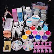 Professional 12 Color UV Builder Gel Brush Pen Nail Tips Top Coat Tools DIY Kits