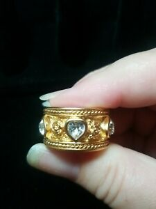 Elizabeth Taylor for Avon goldtone rhinestone Love Blooms size 8 ring