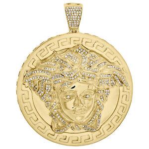 "Yellow Sterling Silver Diamond Greek Key Medallion Pendant 2.50"" Pave Charm 1 CT"