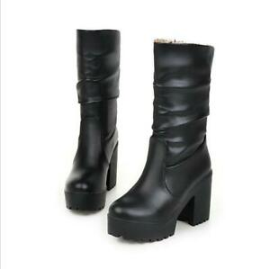 Women's Casual Party Boots High Heel Platform Round Toe Shoes