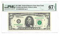 1995 $5 NEW YORK FRN, PMG SUPERB GEM UNCIRCULATED 67 EPQ BANKNOTE, DC PRINT