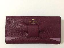 NWT Kate Spade Eden Lane Stacy Bow Leather Wallet Merlot Burgundy Rose
