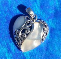 """Solid Sterling Silver 925 Mother of Pearl Shell Filigree 3D Heart Pendant 1.25"""""""