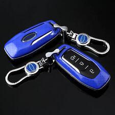 Carbon Fiber Blue Car Key Cover for ford Escape Focus fusion EXPLORER Mustang