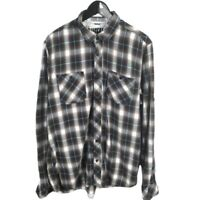 Buffalo David Bitton Mens Flannel Button Down Shirt Size Large Long Sleeve Plaid