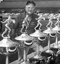 Ohio State Woody Hays posing with Big Ten Trophies 1977 8 x 8 Photograph