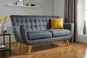 Retro Scandanavian Modern Style Grey Fabric Sofa Set 2 3 Seat Wooden Legs