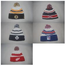 New NHL Youth Knit Hockey Winter Authentic Stripe Cap Cuffed Beanie Pom Hat OSFM