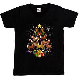 1Tee Kids Girls Horse Tree -  Christmas Tree Made of Horses T-Shirt