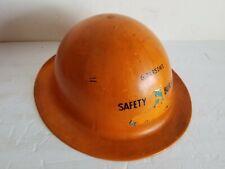 Gentex Model 120 Orange Hard Hat Helmet Excellent Webbing W Chin Strap Vintage