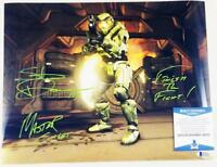 STEVE DOWNES MASTER CHIEF SIGNED HALO 11x14  METALLIC PHOTO BAS COA 052