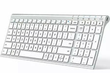 Iclever Ultra Slim Full Size Rechargeable Wireless Keyboard White *New Open Box