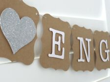 ENGAGED Banner Bunting Garland, Engagement Bridal Shower decoration SILVER heart