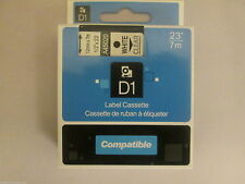 Compatible Dymo D1 12mm x 7m white on clear Label tapes (45020) VAT included